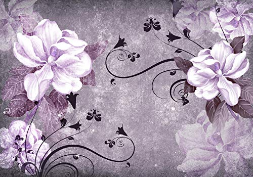wandmotiv24 Wall Mural Blossoms Vintage Concrete Ornament Violet Flower Tendril Hibiscus White Leaves M1641 XL 137.7 x 96.4 inches - 7 Parts Mural - Motif Wallpaper