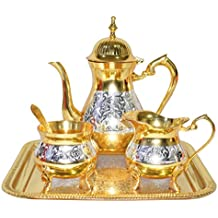 Set Premium Antique Mughal Style Brass Gold and Silver Tea Coffee Set..Modern and Traditional Home Decor Themes|