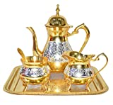Chritmas Gift/Chritmas Sale Set Premium Antique Mughal Style Brass Gold and Silver Tea Coffee Set.Modern and Traditional Home Decor Themes|