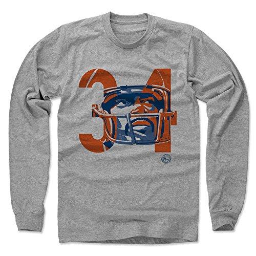 34 Walter Payton Jersey (500 LEVEL's Walter Payton Long Sleeve Shirt L Heather Gray - Walter Payton Tribute 34 - Vintage Chicago Football Fan Gear)