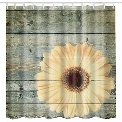 BROSHAN Country Shower Curtain Cloth, Flower on Rustic Wood Panel Vintage Retro Floral Blossom Art Printing, Polyester Fabric Waterproof Bathroom Decor Set with Hooks,72 x72 Inch