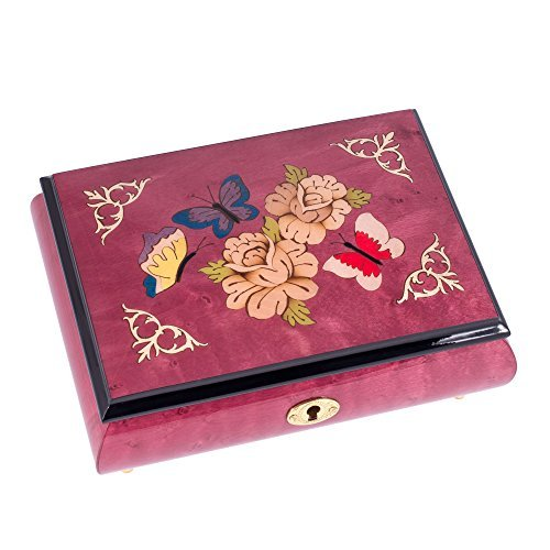 - Pink Butterfly Italian Hand Crafted Inlaid Wood Musical Jewelry Box - Plays Waltz of The Flowers