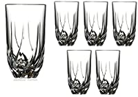 Set Of Six Heavy Base Twist Cut Drinking Glasses Crystal Highball Bar-ware Glasses, Clear Glass Durable Drink Cups, Elegant Glassware Set Ideal For Serving Or Bar