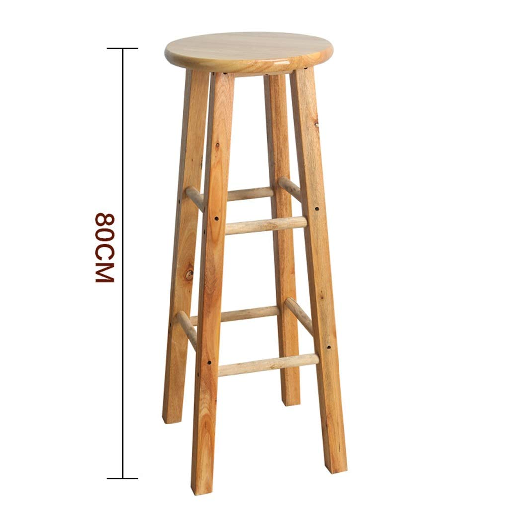 80cm Stool Wooden Bar Stools, Round High Stools, for Counter Café Kitchen Breakfast Pub (Size   50CM)