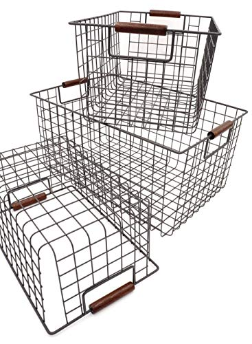 KeKaBox Set of 3 Metal Wire Nesting Storage Baskets with Wood Handles by KeKaBox (Image #2)