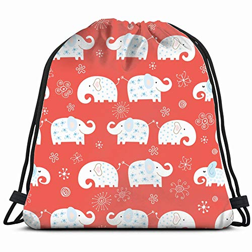 funny elephant illustrations clip art Drawstring Backpack Gym Sack Lightweight Bag Water Resistant Gym Backpack for Women&Men for Sports,Travelling,Hiking,Camping,Shopping Yoga