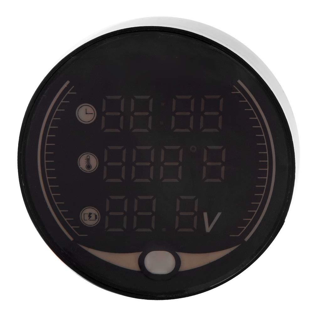 Samfox Motorcycle Digital Gauge Kit, Digital Voltage Temperature Monitor Tester Multimeter Motorcycle Voltmeter Thermometer Detector