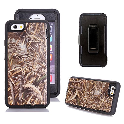 Kecko Defender Tough Tree Camo Shockproof Weather Impact Resistant Military Grade Heavy Duty Hybrid Rugged Full Body Built-in Screen Protector Case with Belt Clip for iPhone 6s - Straw Camo (Black) ()