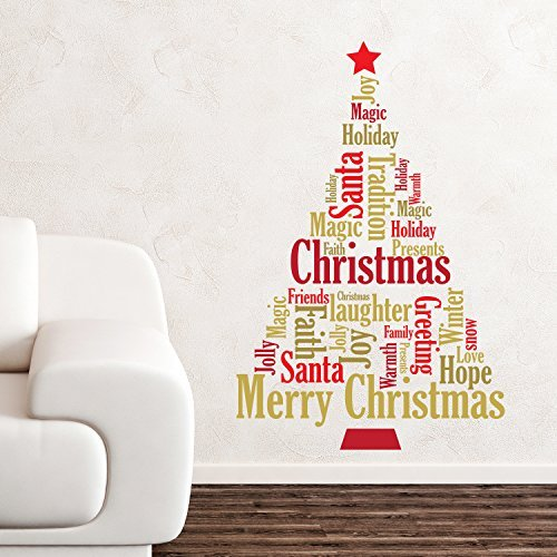 Wallflexi Christmas Decorations Wall Stickers U0026quot; English Quotes Christmas  Tree U0026quot; Wall Murals Decals Part 21