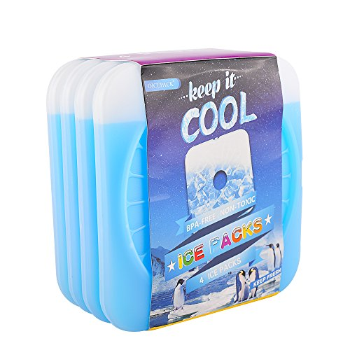 OICEPACK Ice Pack(Set of four) Ice Packs for Lunch Packing containers, Cool Packs for Cooler,Thin Ice Packs Fits Lunch Bags,Gel Ice Packs Stay Cold for Long Time,Freezable Cooler Packs for Keeping Food Fresh Blue – DiZiSports Store