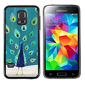 iKiki Tech / Estuche rígido - Feather Vibrant Teal Bird Pattern - Samsung Galaxy S5 Mini, SM-G800, NOT S5 REGULAR!