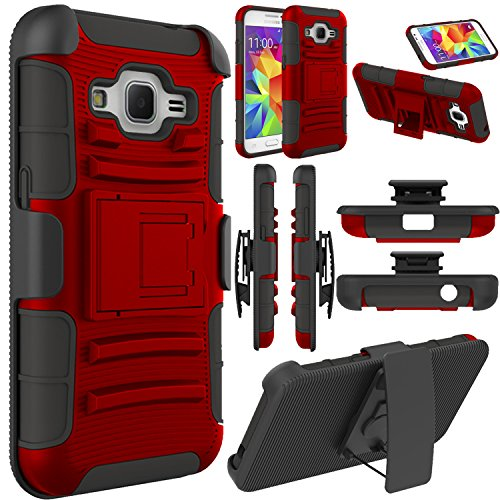 Galaxy Core Prime Case, EC™ Galaxy Prevail LTE Case, Hybrid Armor Dual Layer Full Body Protective Holster Case with Kickstand + Belt Swivel Clip for Samsung Galaxy Core Prime (Red+Black)