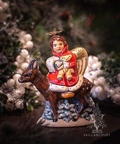 Vaillancourt Folk Art 35th Anniversary Angel on Deer, used for sale  Delivered anywhere in USA