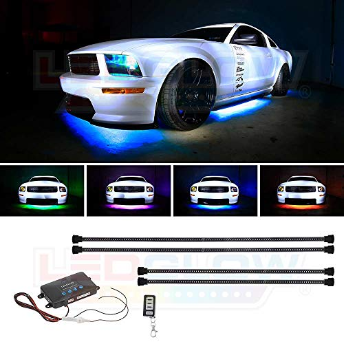 (LEDGlow 4pc Million Color Wireless LED Car Underbody Underglow Lighting Kit - 4 Underbody Lighting Tubes - 378 SMD LEDs - 18 Unique Colors - 12 Unique Lighting Patterns)