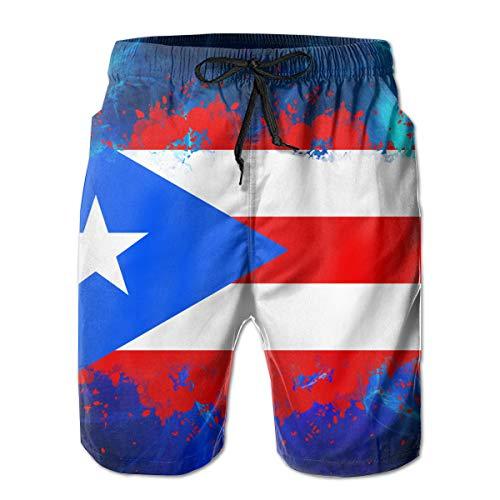 San Juan Racing - RolandracePuerto Rico Flag Splash Men's Swim Trunk White