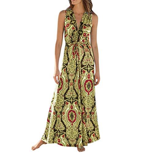Summe Dresses for Women Wrap V Neck Bohemian Printed Long Dress Sleeveless Casual Beach Skater Maxi Dress -