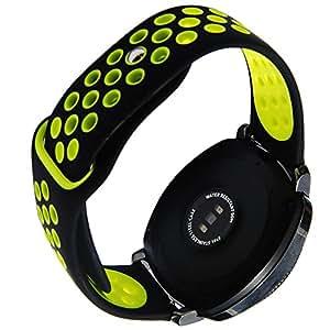 Silicone Watch Band Sport Rubber Strap for Vivoactive 3 Ticwatch 2/E S2 Classic SM-R732/SM-R735 Samsung Gear Sport R600 Wristband (Black-Yellow)