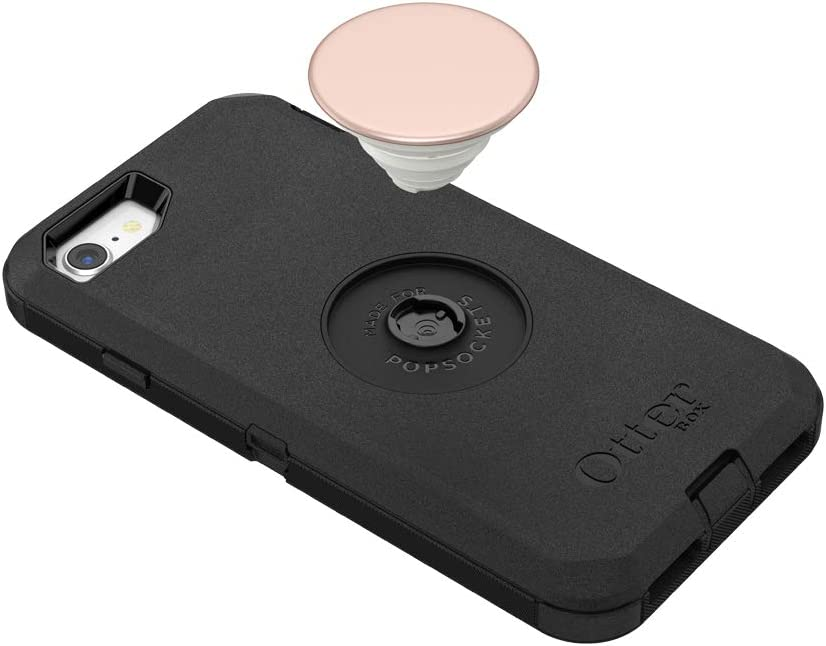 OtterBox Defender Series Case with PopSockets Swappable PopTop Black and Aluminum Rose Gold Pop for iPhone 7 and 8 Otter