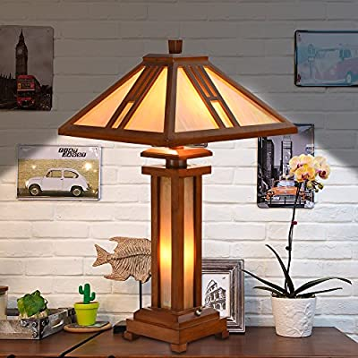 "Cloud Mountain Tiffany Style 15"" Lampshade Wooden Table Lamp Mission Double Lit Design Lighting Wood Desk Lamp Home Decor"
