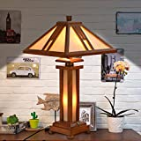 Cloud Mountain Tiffany Style 15'' Lampshade Wooden Table Lamp Mission Double Lit Design Lighting Wood Desk Lamp Home Decor