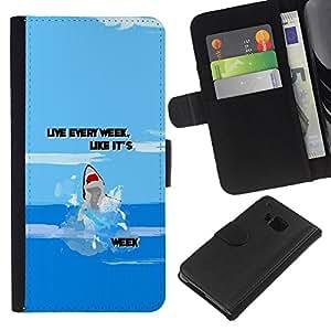 All Phone Most Case / Oferta Especial Cáscara Funda de cuero Monedero Cubierta de proteccion Caso / Wallet Case for HTC One M7 // Week Ocean Funny Cartoon Blue
