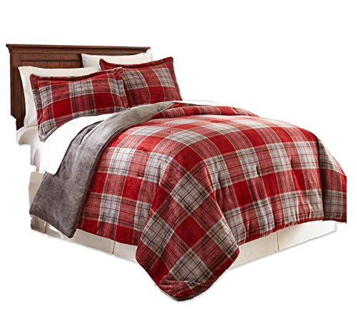 Fraiche Maison Allen Plaid Velvet Plush Comforter Sets, King