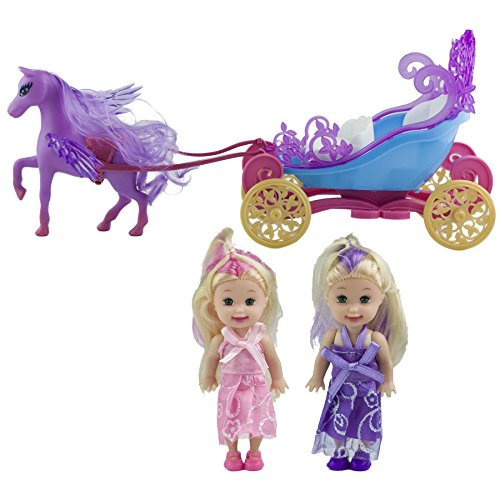 Wewill Princess Enchanted Royal Horse and Carriage Playset, Gift Set for Girls, Purple (Royal Princess Horse)