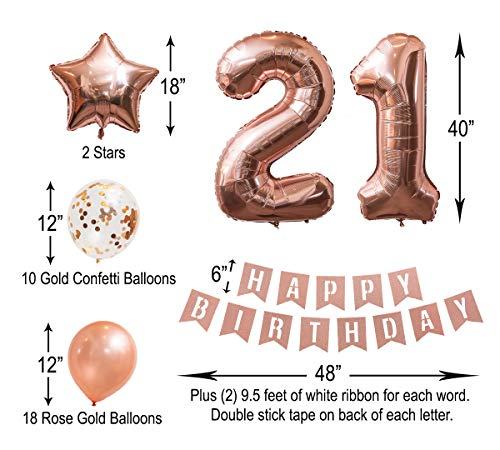 21st Birthday Rose Gold Balloon Set | Rose Gold Confetti Balloons | Rose Gold Glitter Birthday Banner | 4 Mylar Balloons - #2, 1, and Two Stars
