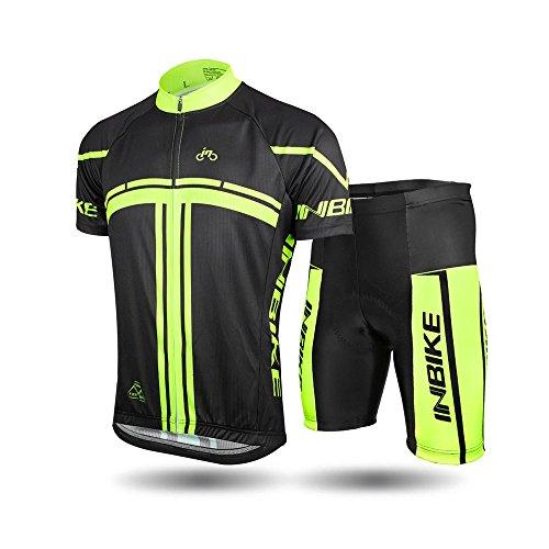 INBIKE Short Sleeved Bike Jersey Set with Padded Shorts Cushion, Size-XXL