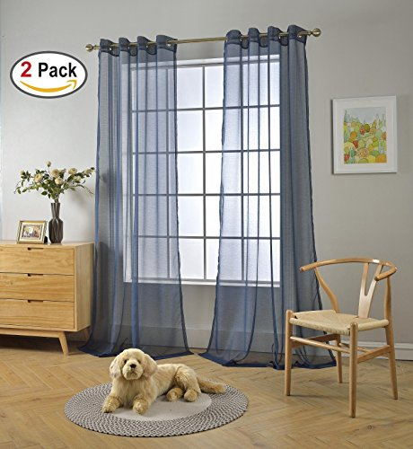 Miuco 2 Panels Grommet Textured Solid Sheer Curtains 63 Inches Long for Living Room (2 x 54