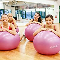 Exercise Balls - iSolem 65cm Yoga Workout/Fitness/Pilates Ball - Resistant Slip & Burst Stability Swiss Ball with Foot Air Pump for Balance Training,Gym,Core Strength,Birthing,Stretching,Office Chair from iSolem