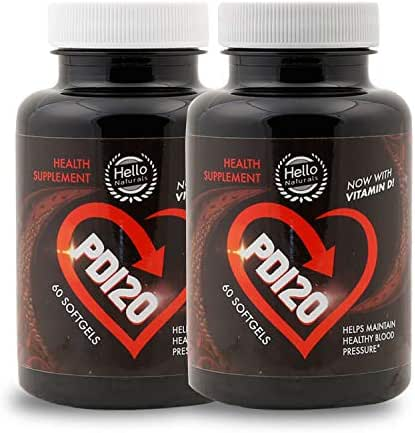 PD120® High Blood Pressure Supplement to Lower BP Naturally - Premium Cardiovascular Heart Health Supplements - CoQ10, Vitamin D, L-Theanine for Stress Reduction (Pack of 2 Bottles, 120 Softgels)