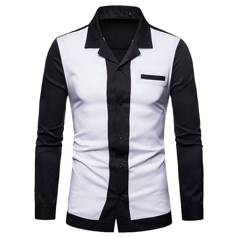 AopnHQ Mens Shirt Fashion Solid Patchwork Button Male Casual Long Sleeve Shirt Top