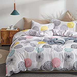 Uozzi Bedding 3 Piece Duvet Cover Set Queen (1 Duvet Cover + 2 Pillow Shams) with Colorful Dots, 800 - TC Comforter Cover with Zipper Closure, 4 Corner Ties Christmas or New Year Gift for Adult/Kids