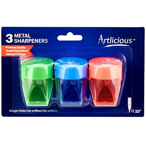 Artlicious 3 Colorful Compact Metal Pencil Sharpener Value Pack - Colored Pencils, Watercolor Pencils, School Pencils by Sorillo Brands (Image #1)