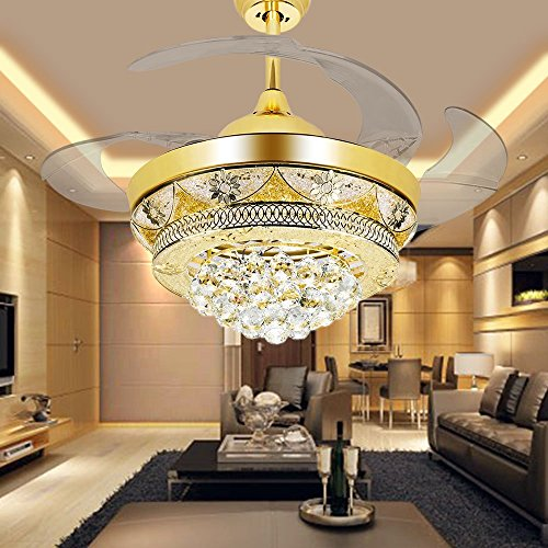 COLORLED Modern Crystal Gold Ceiling Fan Light Kit For Living Room Bedroom  42 Inch Four Telescopic Blades Fan Chandeliers Lighting Fixture (Gold)