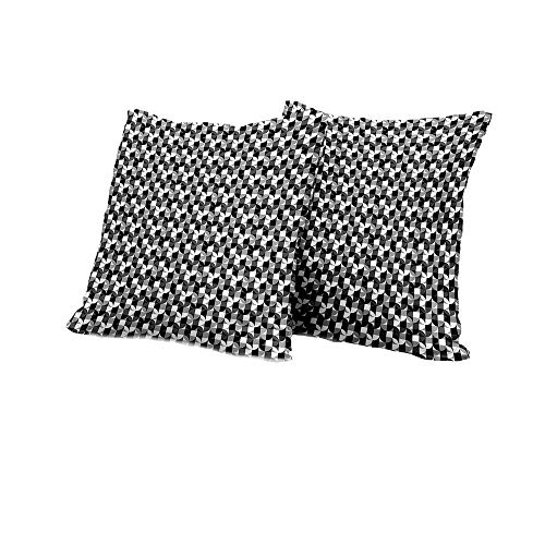 All of better Stool Cushion Cover Black and Grey,Checkered Squares Pattern Circular Motifs Contemporary Style Shapes,Black Grey White Square Cushion Case 24x24 INCH ()