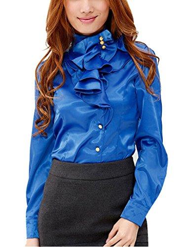 Shirt Ruffle Stand Collar (DPO Women's OL Ruffle Stand Collar Founcing Front Shirt Long Sleeve Blouse)