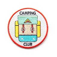 Embroidered Sew or Iron-on Backing Patch Yoga Space Explorer Time Traveler Camp Galaxy Planet Bear Bike Camera (Camping Club)
