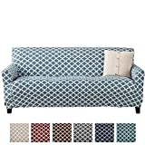 Home Fashion Designs Printed Stretch Sofa Furniture Cover Slipcover Brenna Collection, Smoke Blue