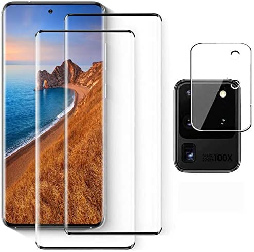 Galaxy S20 Ultra Tempered Glass Screen Protector[2 Pack] + 1 Pack Camera Lens Protector Support Fingerprint for Samsung Galaxy S20 Ultra 4G/5G