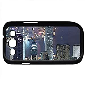 _7841 - Case Cover for Samsung Galaxy S3 i9300 (Skyscrapers Series, Watercolor style, Black)