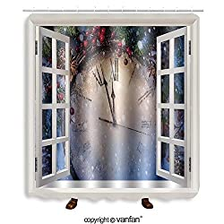Vanfan designed Windows 116575999 Christmas clock and fir branches covered with snow Shower Curtains,Waterproof Mildew-Resistant Fabric Shower Curtain For Bathroom Decoration Decor With Shower Hooks