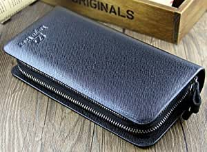 Big Mango Multi-purpose Fashion Long Business Style Small Cell Pattern Cellphone Leather Purse Bag and Big Clutch Two Zipper Wallet with Inner Multiple Card Holders and Adjustable Strap for Apple Iphone 4 4s Iphone 5 5s 5c Samsung Galaxy S4 S3 HTC Blackberry MP3 Key Photo Money Credentials (Black)