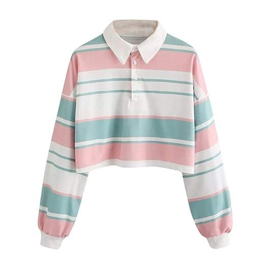 G Kshop Women Crop Tops Casual Long Sleeve Striped T Shirt Fashion