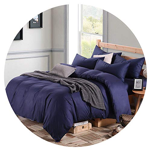Blue Grey 100% Cotton Bed Sheet Set Duvet Cover Twin Queen/King Size Bedding Sets Adults Kids Fitted Sheet Bed Set,Bedding Set 15,King Size 4pcs,Bed Sheet Style