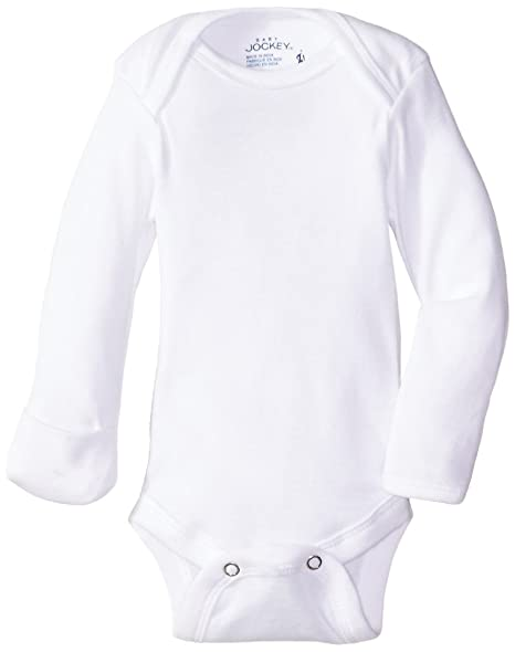 f81a034ed Amazon.com: Jockey Unisex-Baby 4 Pack White Long Sleeve Bodysuit with  Mitten Cuff: Clothing