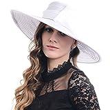 FORBUSITE Lady Shiny Organza Striped Church Wedding Wide Brim Hat S062-XDUS-9 (White)