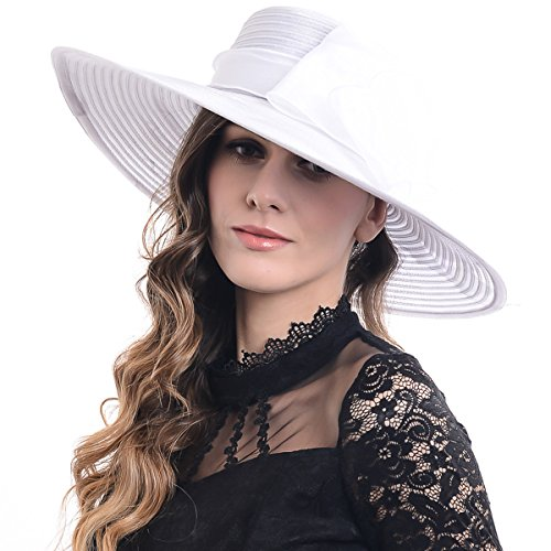 FORBUSITE Lady Shiny Organza Striped Church Wedding Wide Brim Hat S062-XDUS-9 (White) by FORBUSITE
