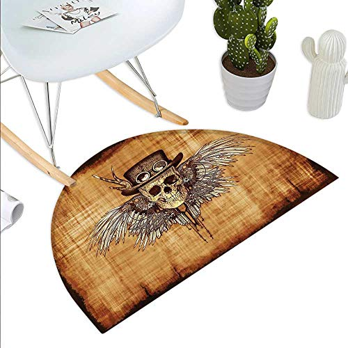 - Skull Half Round Door mats Cool Skull Icon on Parchement Background Retro Style Dead on Eagle Wings Gothic Bathroom Mat H 31.5